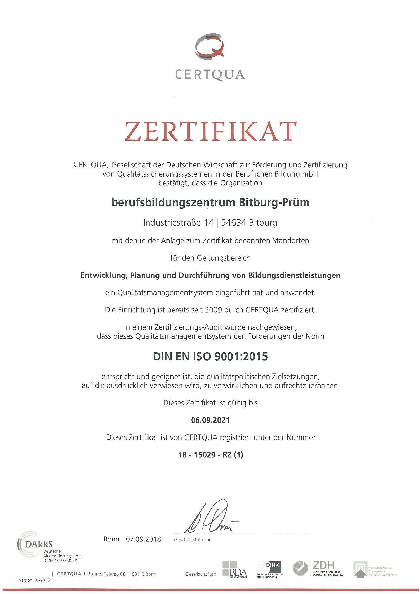 Erfolgreiche Zertifizierung nach der DIN EN ISO 9001:2015 und AZAV